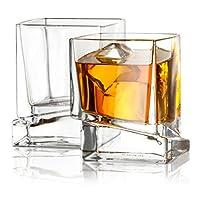 JoyJolt Carre Square Scotch 玻璃,老式威士忌玻璃杯 283.50 克,超透明威士忌玻璃杯 适用于波本*和*杯 2 件套