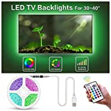 BASON USB LED TV Bias Lighting Backlight Strip for 30 to 40 Inch Flat HDTV 20 Color options Sync Switch On/off with TV Dimmable Remote Control U2M4AC112W