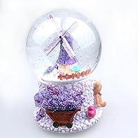 圣诞元旦新年情人节水晶球音乐盒生日礼物 音乐球 音乐盒 新恋爱时代男女生 生日礼物礼 (普罗旺斯风车)