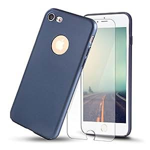 iPhone 7手机壳 yonsin 超薄平滑 Touch 修身弹性 PC 保护盖与1件钢化玻璃屏幕保护膜适用于苹果 iPhone 725.4CM ) Matt Dark Blue