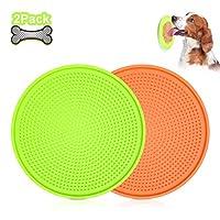 WHIPPY 2 件装狗狗/猫舔垫,慢喂食器狗花生酱舔垫,吸力强,缓解狗狗*,舔垫,沐浴*训练 2-Green+Orange