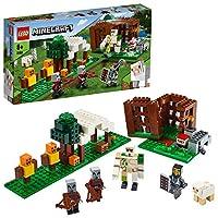 LEGO 21159 Minecraft The Pillager Outpost 可动公仔积木套装,钢铁哥尔冒险玩具,适合 7 岁以上儿童
