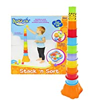 Kidoozie Stack ??n Sort Toy ?? 12 Colorful Pieces to Stack and 5 Shapes to Sort