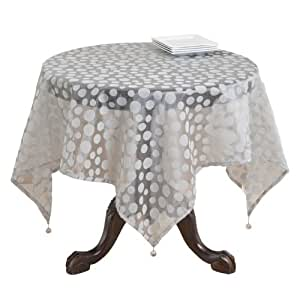 SARO LIFESTYLE 1893 Flocked Dots Square Table Topper, 54-Inch, Silver