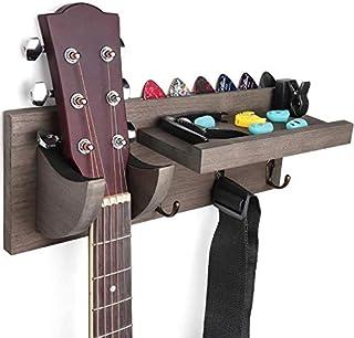 Abbado 木质吉他架壁挂支架吉他衣架带拨片支架和3个挂钩,15 x 4.5 x 5.5 英寸