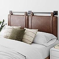 Nathan James Harlow 壁挂式织物软垫床头板,可调节高度复古 PU 皮带,黑色哑光金属导轨