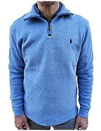POLO ralph lauren 男式半拉链法国罗纹棉质毛衣