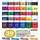 Tempera 画,百叶窗艺术 30 色可水洗彩绘画套装,适合儿童,2 盎司瓶装,金属闪光和霓虹色和广口瓶,方便存放海报、艺术和项目