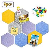 六角形毛毡板瓷砖,墙面公告板用于图片、笔记、备忘录、办公室和家居装饰 8 件/套