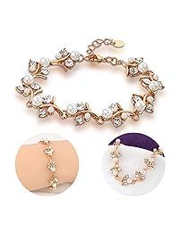 Mytys 珍珠和水晶手镯 玫瑰金手链 女式婚礼珠宝