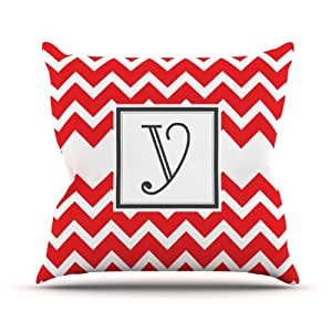 Kess InHouse KESS 原创交织字母 V 形图案红色字母 Y 户外抱枕,45.72 x 45.72 厘米