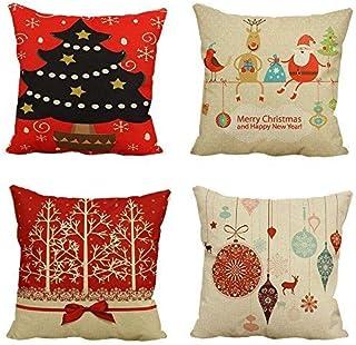圣诞枕套枕巾 45.72 x 45.72 cm 装饰枕套 4 件装 - 创造有趣的节日圣诞抱枕带 4 个不同设计枕套,来自驯鹿和圣诞老人到圣诞树