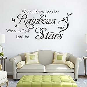 Ferris Store DIY When It Rains 英国字母引言家居装饰 PVC 可移除客厅墙贴 62.99x28.96cm 黑色