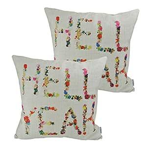 "Thanksliving 2 件套有意义的英语书写励志文字引言棉质亚麻装饰枕套靠垫套沙发抱枕套 18 X 18 英寸/45 x 45 厘米,Keep It Simple Hell Yeah 18"" x 18"""