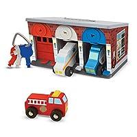 Melissa & Doug 钥匙和汽车木制救援车和车库玩具(7件)