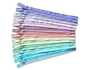 12 支明亮 YKK 拉链各式各样 - 拉链连衣裙(长度可选) Pastel 7 inch unknown