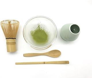 CHAQI Ceremony Matcha 配件套件包括竹鲸、勺子和勺、鲸鱼支架和耐热双层玻璃碗 - 完美火柴入门套件