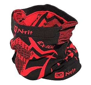 抓绒护颈套,N-Rit Tube 9 Extreme 3 多功能面罩头饰 耐用轻盈 W/双通风*系统和耳罩 [黑色/红色]