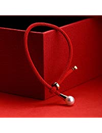 马来西亚品牌 风下Hrfly 天然珍珠手链 8-9mm 皮光亮 正圆无暇 设计师款本命年红绳手链 转运手链女 可调节