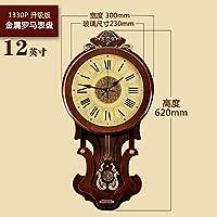 欧式钟表时钟挂钟客厅现代简约创意时尚家用中式挂表美式静音大气1330P新款罗马表盘 16英寸直径40.5厘米