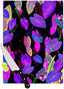 "Kess InHouse""Fluo Jungle""Fernanda Sternieri 玻璃砧板,27.94 x 19.05 厘米,紫色黑色"