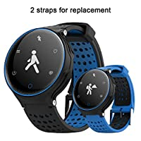 Sports Bracelet,Padgene Bluetooth 4.0 Fitness Activity Tracker IP68 Waterproof Smart Watch Sport Tracker Health Wireless Monitor Wristband with Sleep Monitor and HD Touch Screen (Black Blue)