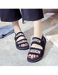 kebule 克卜勒 夏季简约生活日常女凉鞋 厚底舒适露趾 字母布面流苏潮鞋 韩版时尚凉鞋
