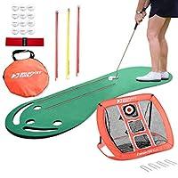Rukket Putting *和高尔夫筹码网包 | 室内和室外练习* | 家庭和办公室的垫子 | 便携式高尔夫靶子配件 | 排列棒