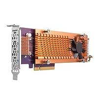 Qnap 双 M.2 22110/2280 SATA SSD 扩展卡(PCIe Gen2 X 2),半高支架预安装,低调平和全高捆绑 PCIe Gen2x4,M.2 PCIe SSD X 4,PCIe Gen2 x8 host