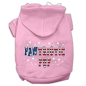 Mirage Pet Products Pawtriotic Pup 丝网印花宠物连帽衫 浅粉色 X-S