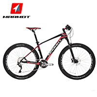 MARMOT土拨鼠自行车山地车男女式成人单车30速碳纤维山地自行车 (黑红白)