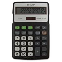 Sharp ELR287BBK 12-Digit Recycled Plastic Cabinet Calculator - Black