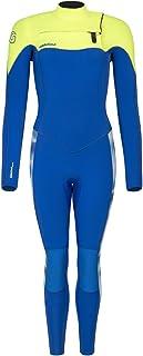 GlideSoul 女式扎染系列 5 毫米全潜水服带胸拉链,L 码,蓝色扎染/柠檬色