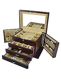 RUINIO 瑞尼欧 高档木质首饰盒 珠宝首饰收纳盒 木质 双开门多层 带锁 大容量 (外咖啡色+内卡其色绒)