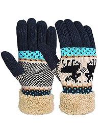 Vbiger 冬季针织手套厚绒内衬冬天保暖手套男式女式礼物