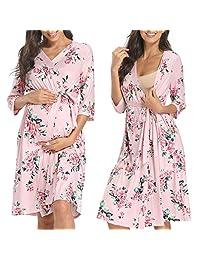 Musidora 舒适孕妇护理长袍 带口袋 * 工作和分娩 轻质孕妇睡衣
