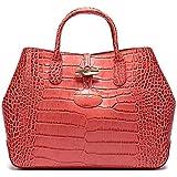 珑骧 女士Roseau Croco系列口红色鳄鱼纹牛皮小号手提包 1986 924 B99