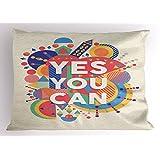"Lunarable 引语 Pillow Sham ,""Yes You Can""彩色印刷海报风格艺术积极鼓励语,装饰标准尺寸印刷枕套,红色芥末黄 Multi 1 26"" W By 20"" L pil_15993_26x20"