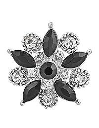 My Prime Gifts Snap Jewelry 马眼水钻花朵黑色和透明 18-20mm