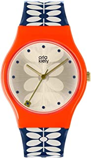 Orla Kiely 奥拉·凯利 中性成人石英手表,模拟经典显示屏和塑料表带 OK2230,香槟色
