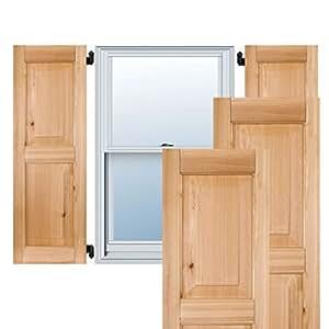 Ekena Millwork ER0109250X025000MUN 23.49cm 宽 x 63.5cm 高 外部红褐色 2 等架平板百叶窗对,未完成