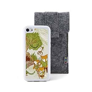松鼠一家 图案浮雕设计风格 塑料+TPU手机壳 手机套 适用于 苹果 Apple iPhone 5C 赠送不织布手机袋