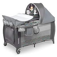 Lionelo Sven Plus 2合1 婴儿旅行床 婴儿婴儿婴儿婴儿围栏 适合出生至15公斤 蚊帐 便携包 可折叠 Grey Scandi