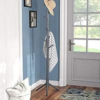 Vlush 坚固木质外套架,入口处,树形大厅 树形实心圆形底座帽,闭合,钱包,围巾,手袋,雨伞(8 个挂钩,棕色)