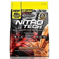 MuscleTech NitroTech蛋白粉加肌肉增強劑,乳清蛋白和乳清分離物,牛奶巧克力,103份-10磅(4.54kg)