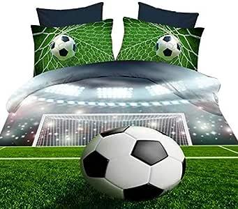 Lebather *绿色 3D 足球印花超细纤维床上用品四件套,1 件床单,2 个枕套 Bedding 两个 B01LX5V89D