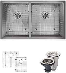René By Elkay R1-1026 矩形双碗不锈钢厨房水槽,带两个格栅和两个滤网 Wide Right 18 Gauge R1-1026R-16