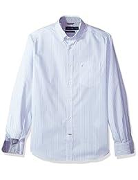 Nautica 男式 LS 防褶皱弹力府绸条纹系扣衬衫