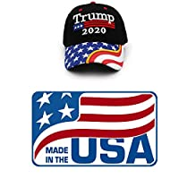 Mersinni Trump 黑色帽美国国旗 Keep America Great Hat President Trump 2020 MAGA 帽 美国制造