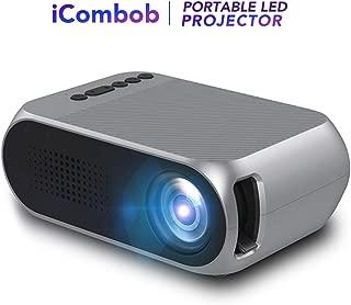 iCombob 视频投影仪 - 便携/1080P 支持/家庭/LED 适用于家庭影院、视频、室内室外、电影之夜,游戏兼容手机、电脑、游戏机、DVD 等。
